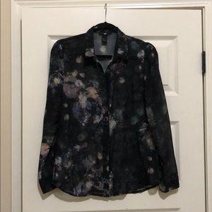 H&M Dark Blue Floral Button Down